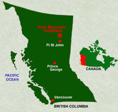 Map Of Fort St John Bc Canada Map of our territory   Big Game Guides and Outfitters   British